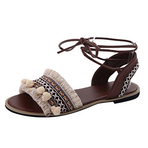 Lvraoo donna scarpe da spiaggia estate boho sandali peep toe strappy etnico infradito con nappe (beige, cn 39)