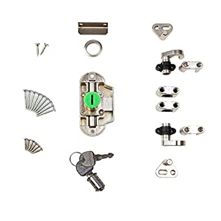 Gedotec Zylinder-Drehstangenschloss Möbel-Aufschraubschloss Kleider-Schrank | Möbelschloss Anschlag RECHTS | Zylinderschloss Dornmaß 25 mm | Stahl vernickelt | 1 Set - Schrank-Schloss für Schranktüren