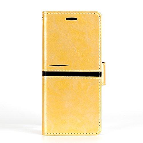 Para Samsung Galaxy S8 funda, (Estilo elegante)Estilo simple efecto de cuero de cuero de la PU Leather cubierta ,Función de soporte para teléfono de soporte,Billetera con ranura para tarjetas - oro