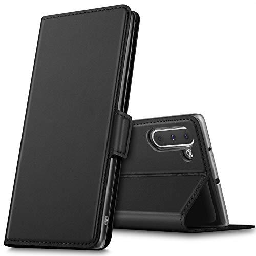 GEEMAI für Samsung Galaxy Note 10 Hülle, handyhüllen Flip Hülle Wallet Stylish mit Standfunktion und Magnetisch PU Tasche Schutzhülle passt für Samsung Galaxy Note 10 Smartphone, Schwarz