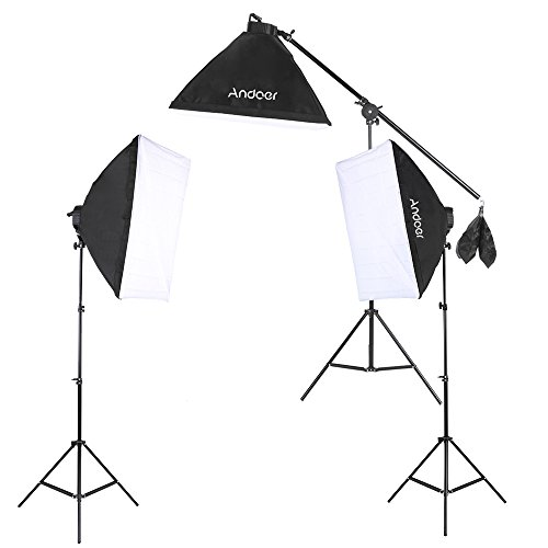 Andoer Continuous Lighting Photography Kit, 15 x 45W Bulbs Lamps / 50 x 70cm Soft Boxes / 3 x 5-Socket Light Heads / Boom Light Stand Support / Boom Arm / Light Stand / Carrying Bag
