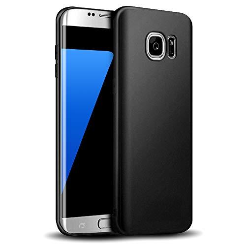 Whew Hülle Kompatibel Samsung Galaxy S7, Matt Schwarz Silikon Schutzhülle aus Soft Premium-TPU, Anti-Dropping Handyhüllen, Ultra Slim Soft Backcover Kompatibel Galaxy S7