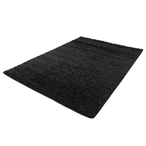 Taracarpet Shaggy Teppich Hochflor Langflor Teppiche fürs Wohnzimmer und Schlafzimmer geeignet sowie für die Küche und Kinderzimmer Ökotex 100 Zertifiziert (120x170 cm, schwarz) -