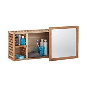 Relaxdays Wandregal mit Spiegel, Walnuss, verschiebbarer Spiegel, geöltes Holz, 80 cm breit, besonders fürs Badezimmer…