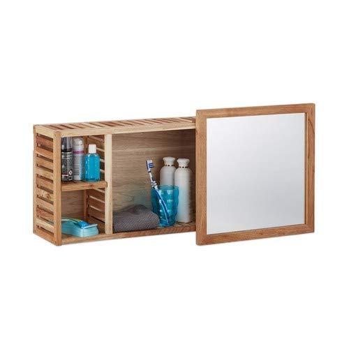 Relaxdays Wandregal mit Spiegel, Walnuss, verschiebbarer Spiegel, geöltes Holz, 80 cm breit, besonders fürs Badezimmer, natur