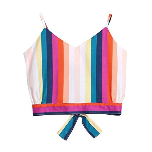ige gestreifte Oberteile Damen Camisole Shirt Lässig V-Ausschnitt-selbst-binden zurück Crop Vest,Blau,S (Rose Und Jack Kostüme)