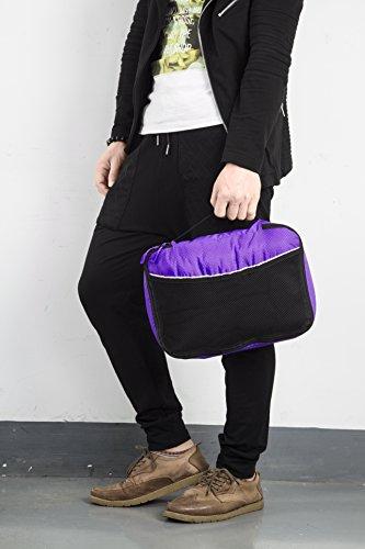 Packwürfel Kleidertaschen Packing cubes Koffertaschen für angenehmes Reisen und aufgeräumte Koffer -Große und mittelgroße Taschen zum Schutz und zur Komprimierung von vielen Kleidungsstücken, Schuhen  Med-Purple