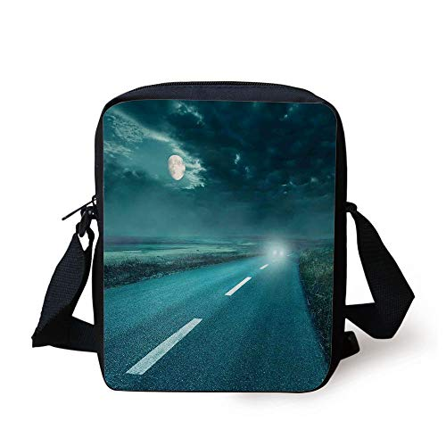 KLYDH Horror House Decor,Highway Road to Hell Under Storm Clouds Asphalt Twilight Terror Image Artwork,Blue Print Kids Crossbody Messenger Bag Purse -