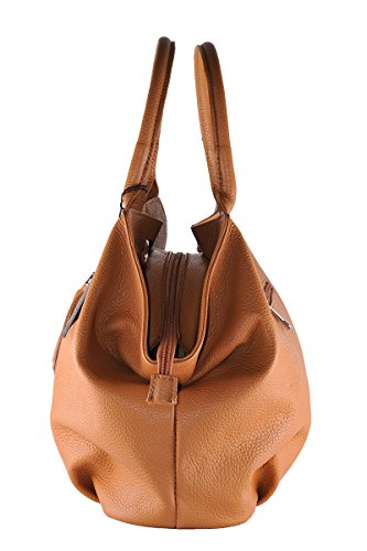 BORDERLINE - 100% Made in Italy - Borsa da Donna in Vera Pelle - GIADA Color Cuoio