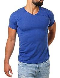 Young Rich Herren V-Ausschnitt T-Shirt einfarbig körperbetont mit  Stretchanteilen Uni Basic V- c15f38bc23