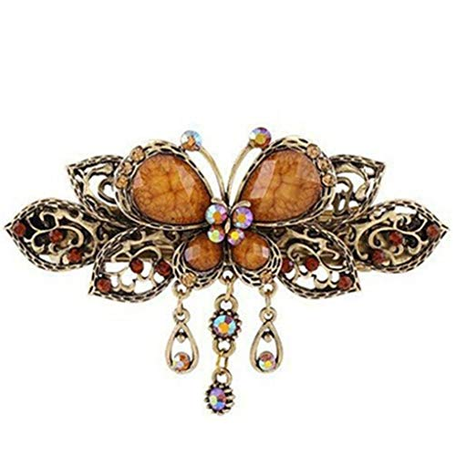 Missoul CanViUK Exquisite Retro Inlay Stone Butterfly Fringe Hairpin Headdress,Orange -