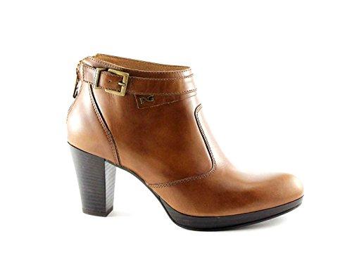 BLACK JARDINS 15960 bottes en cuir bottes femmes cheville zip talon boucle Marron
