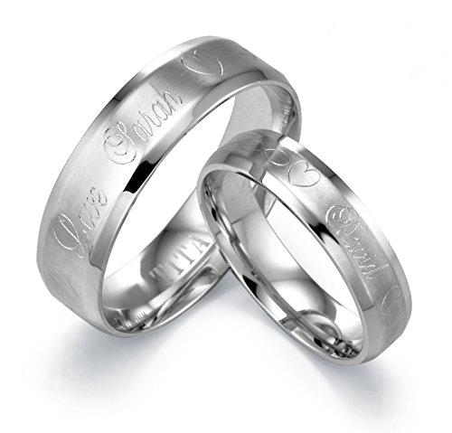 Gemini personalizzato incisione sposo o sposa COMFORT-FIT bordo smussato Band ttianium Anello Regalo Di San (Titanio 7 Mm Matt)