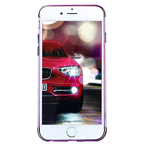 GrandEver iPhone 6 Hülle, iPhone 6S Weiche Silikon Transparent Handyhülle Crystal Clear Schlank TPU Bumper HandyTasche Flexible Ultra Slim Fit Foilo Kunstleder Schutzhülle Zurück Soft Skin Backcover T Rosa