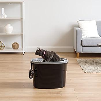 Iris Ohyama, Maison de toilette pour chat avec couvercle à trous, entrée par le haut et pelle - Top Entry Cat Litter Box - TECL-20, plastique, noir, 50,8 x 35,5 x 35,5 cm