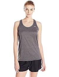 Under Armour Tech Tank - Solid Camiseta deportiva de tirantes, Mujer, Gris (Carbon Heather), SM