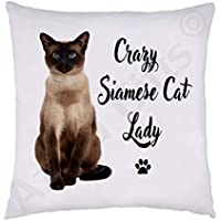Crazy Siamese Lady Cushion - Super Soft White Plush, 38 x 38cm