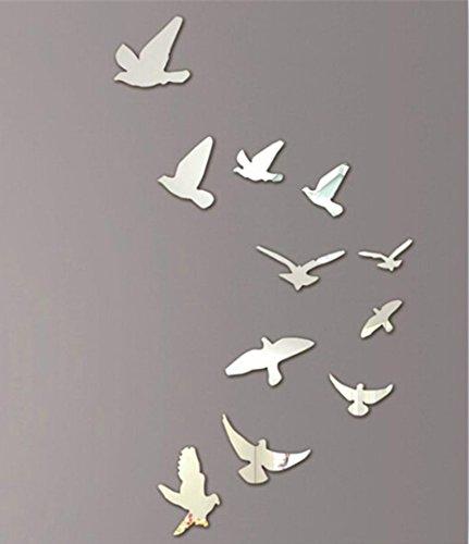 Preisvergleich Produktbild erthome 11 STÜCKE Vögel Silber Spiegel Wandaufkleber Home Room Art 3D DIY Dekoration