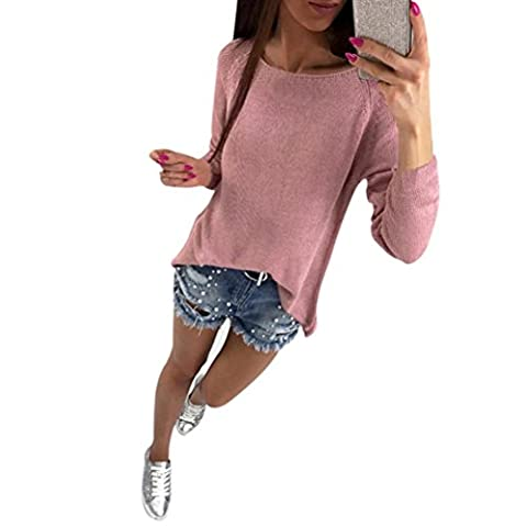 REFULGENCE 2017 Damen Lange Ärmel zurück Reißverschluss Frauen Pullover (XL, Rosa) (Zurück Pullover)