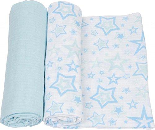 Miracleware Mousseline Nid d'ange, étoiles bleues, 2 pièces