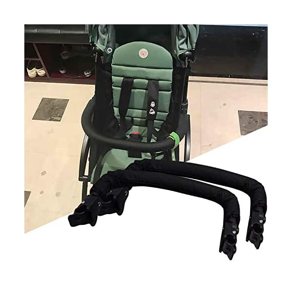 Baby Stroller Armrest, Joyhoop Pushchair Bar Compatible with Babyzen YOYO YOYO+ Yoya VOVO Babysing Hiwide YUYU Jeyhoop 【Baby Stroller Armrest】- The armrest is designed for protecting baby from collisions with walls, posts, people, obstacles, ensure your baby's protection wherever you go. 【More Intimate Design】- Feature a soft grip all around the front. If your baby leans too far forward, waves their arms, or kicks their legs and hits the armrest, the soft grip will protect them from painful bumps and bruises. 【Premiun Fabric】- The pushchair bar made of high quality oxford fabric and iron pipe, which is wear resistant, not easy to break, strong, lightweight and and is designed for long lasting use. 5