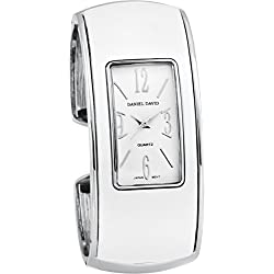 Daniel David Women's | Stylish White & Silver-tone Bangle Watch | HA0481