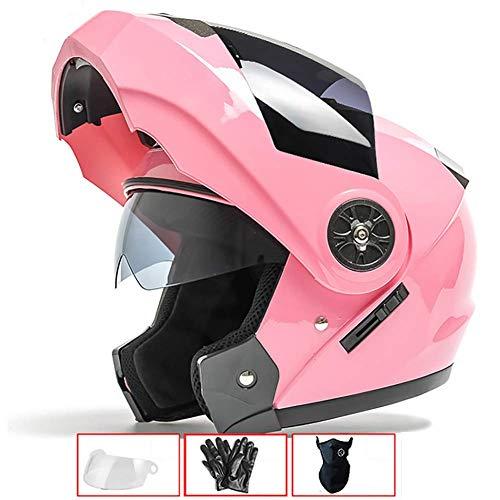 LALEO Einstellbar Integralhelm Modular Motorradhelm, Offenes Motorradhelm Damen und Herren Cruiser Helmet Jet-Helm ECE Genehmigt (54-60cm),Pink