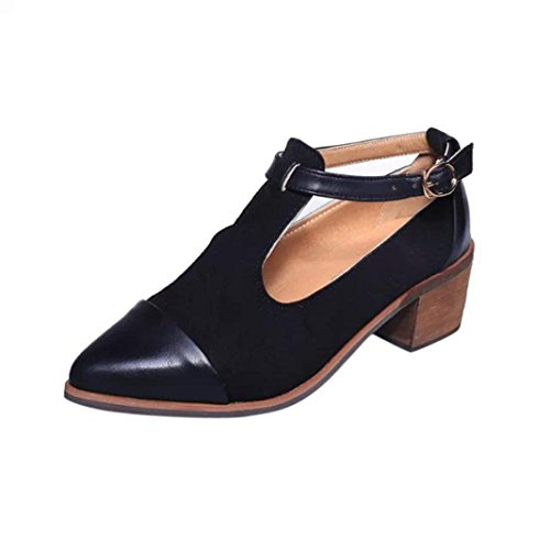 Amlaiworld Vintage Sandalen Damen Spitze Ferse schneiden Patchwork Wölbung High Heels Wedges Schuhe (Schwarz, 39) (Ferse-plattform-schuhe)