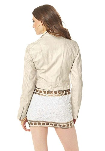 Laura Scott Damen-Jacke Lederimitat-Bikerjacke Weiß Creme