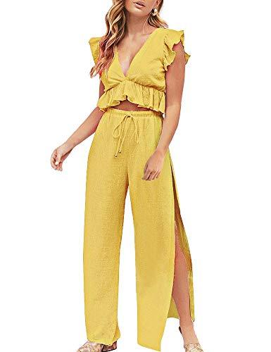 Pantalones amarillos anchos para mujer. Conjunto de dos piezas