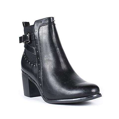 Ideal Shoes - Bottines à talon carré style chelsea Tiphanie Noir 37