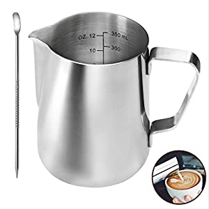 Stainless Steel Milk Jug 350ml/12oz, Milk Frothing Jug, Milk Steaming Pitcher Perfect Size for Coffee Machine, 2 Cappuccino Cups,Coffee Pen for Latte Art, Easy to clean, Silver