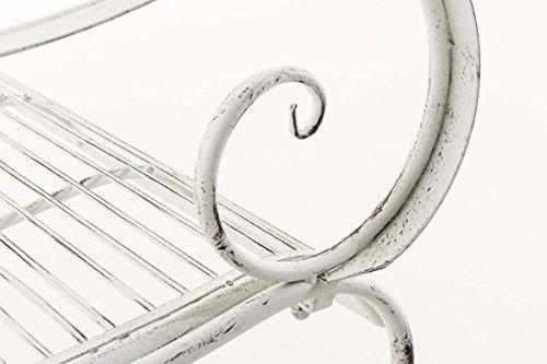 CLP Metall Gartenbank PURUSHA, 2-Sitzer, Landhaus-Stil, Eisen lackiert, Design nostalgisch Antik Weiß - 7