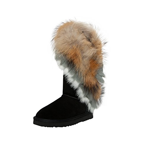 SKUTARI Damen Yeti Boots - Wildleder, Schwarz, Echtfellbesatz, Gefüttert, Farbton:Schwarz;Groesse:40 (Stiefel Fell Wildleder)