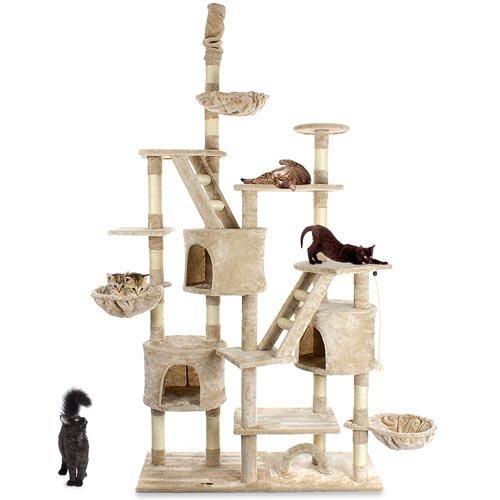 Produktabbildung von Happypet CAT013-3 Kratzbaum deckenhoch höhenverstellbar 2,30 bis 2,60 m Beige
