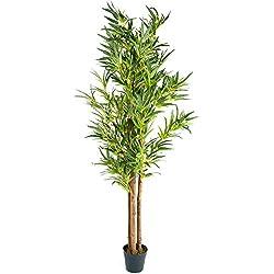 PLANTASIA® Bambus-Strauch, Echtholzstamm, Kunstbaum, Kunstpflanze - 160 cm, Schadstoffgeprüft