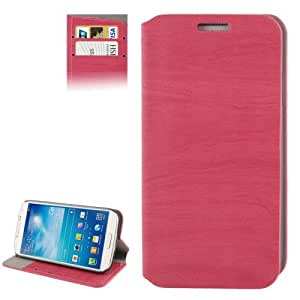 Wood Texture Leather Case with Credit Card Slots & Holder for Samsung Galaxy S IV mini / i9190 (Magenta)