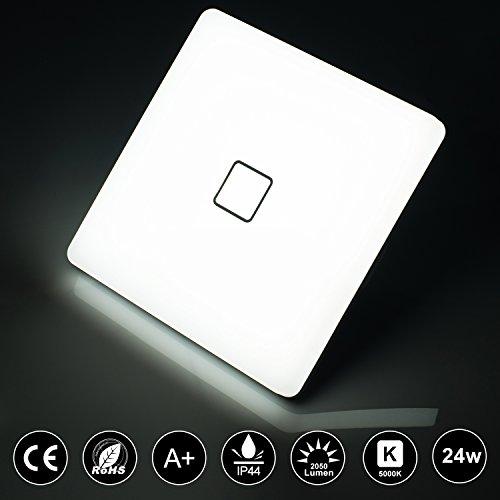 Deckenlampe LED,Öuesen 24W LED Deckenleuchte Wasserfest IP44 Badezimmer Lampe 5000k Kaltweiß 2050LM Deckenleuchten für Badezimmer Küche Flur Schlafzimmer Bad Balkon Büro lampe[Energieklasse A++]