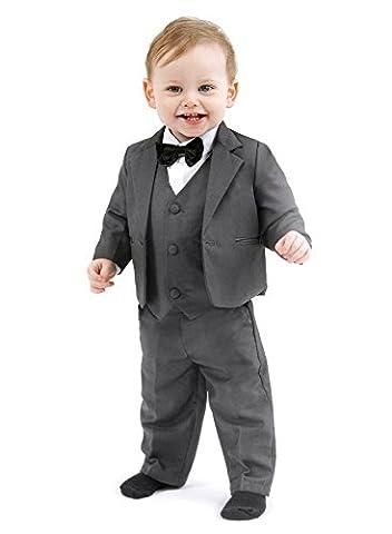 Schicker Taufanzug / Baby-Anzug 5-teilig, anthrazit uni, ca. 3 - 6 Monate (68)
