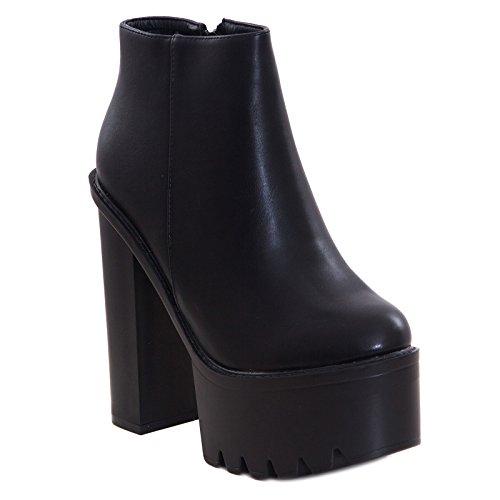 Toocool - Scarpe donna stivali tronchetti ecopelle carrarmato tacchi alti nuove KL-200 [38,nero]