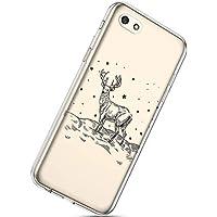Handytasche Huawei Y5 2018 Crystal Clear Ultra Dünn Durchsichtige Silikon Schutzhülle Weiche TPU Schutzhülle Silikon Dünn Case Kirstall Transparent Handyhüllen,Weihnachten Elch