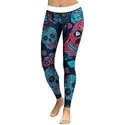 HaiDean Diseño De Mujer Calavera De Leggings Estampados Cristal Pantalones De Modernas Casual Yoga Pantalones De Entrenamiento Activo Mallas Elásticas Pantalones Deportivos para Correr