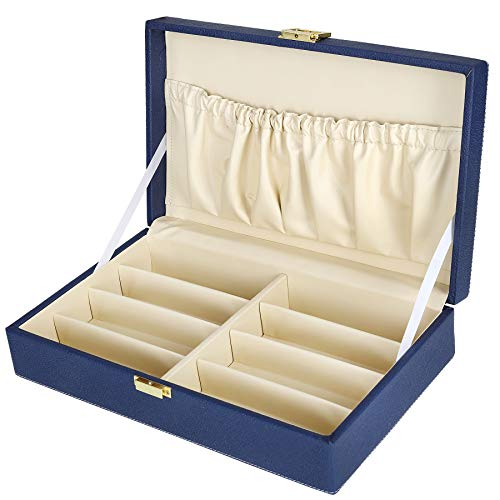Hard Craft Sunglass Eye-wear Storage Organizer Box Case 8 Compartments (Blue)