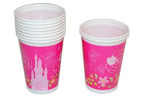 10 Stk. Plastikbecher Disney Prinzessin Princess Kinderparty Plastik Becher Pappbecher (Disney Kronen Princess)