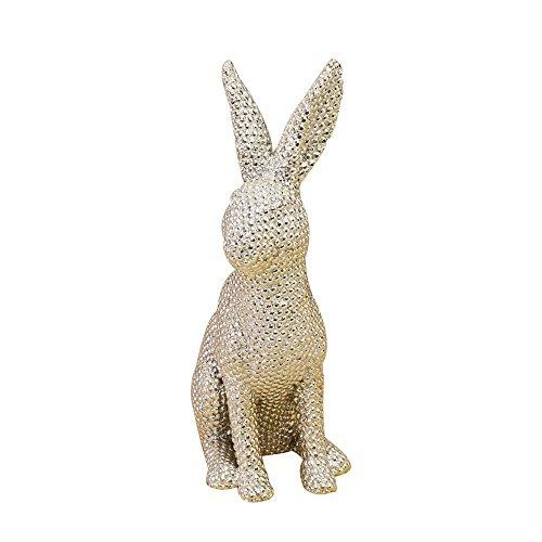 Jysport coniglietto pasquale statue ornamenti resina effetto lampeggiante coniglio decorazione per festa a casa ufficio scrivania e cortili, diamond gold seating, large
