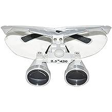 Médico Quirúrgico Dental Gafas Lupas Binoculares 2.5×420MM(Plata)+un paquete negro