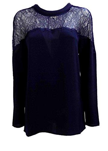 Camicia Donna TWIN SET SA62PB Poliestere Blusa con pizzo Autunno Inverno 2016 Blu XL