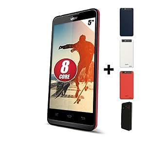 Yezz A5QP Smartphone débloqué 3G OCTO CORE (écran : 5 pouces - 8GO - Android 4.2.1 Jelly Bean) + 3 caches batterie et une pochette offerts