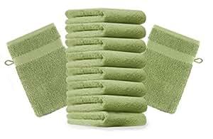 10er Pack Waschhandschuhe Waschlappen Premium Größe 16x21 cm Farbe Apfel Grün Kordelaufhänger 100% Baumwolle