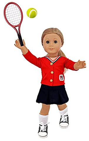 iBayda 6Pcs Sports Tennis outfit Doll Clothes For 18 inch Dolls Includes